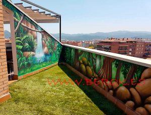 mural terraza cascada graffiti