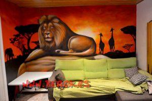 mural-graffiti-león-comedor rojo