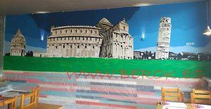 mural italia torre de pisa pizzeria mollet