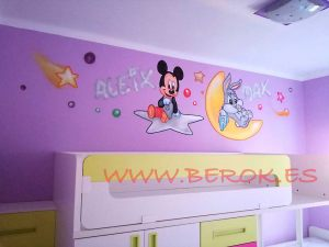 mural infantil mickey buggs bunny