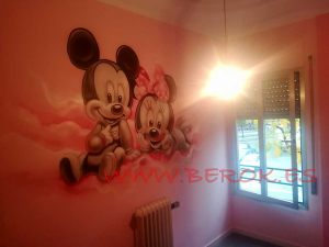 mural infantil mickey minnie bebes rosa