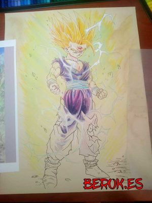 dibujos dragon ball son gohan a lapiz color