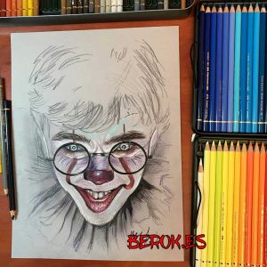 ilustracion pennywise payaso it eso fusionado harry potter