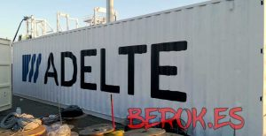 rotulo container barco adelte logo