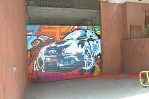 graffiti-puerta-parking-coche-colorines