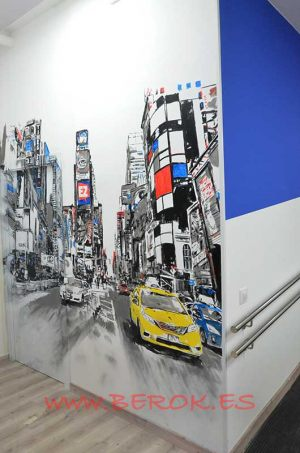 mural ciudad coches new york