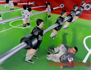 3d graffiti mural, trompe-l'oeil, Ilusión óptica,  mural trampantojo futbolín.