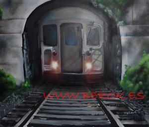 Mural trampantojo 3d de vías de tren