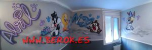murales-infantiles-piolin-silvestre-demonio-tazmania
