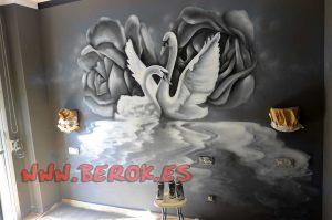 mural-cisnes-dormitorio-grises
