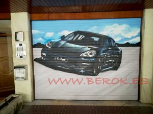 decoracion graffiti puerta parking coche