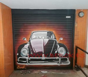 mural parking coche escarabajo