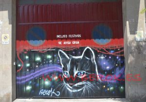 graffiti persiana gato negro