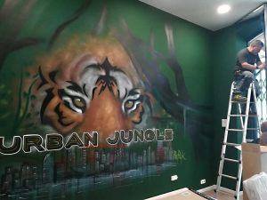 graffiti tigre skyline jungla