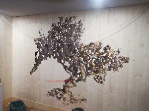 mural arbol sobre madera