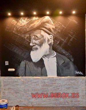 Mural-retrato-blanco-negro-restaurante-2254