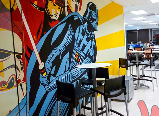 Blog Decoracion graffiti mural para oficinas de Star Wars