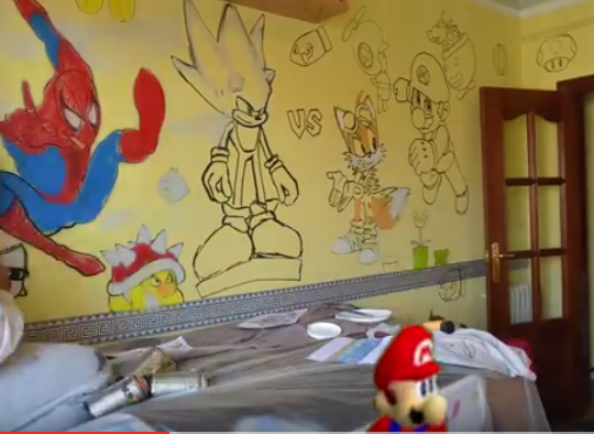 blog Mural Super Mario Bros con Spiderman Goku habitacion