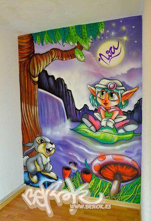 graffiti-infantil-nina-elfa-y-conejo-tambor