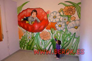 murales-infantiles-dibujo-nina-fondo-flores-sant-vicenc-de-montalt