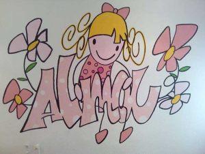 mural-infantil-graffiti-nina-letras