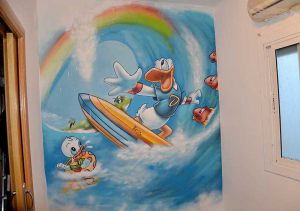 mural-infantil-pato-donald-surf