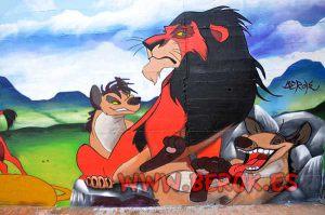 graffiti-mural-infantil-rey-leon-scar-hienas