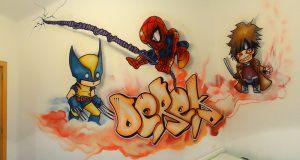 Lobezno-Spiderman-Gambito-mural-infantil