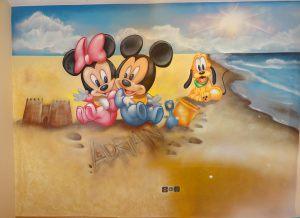 Mural-infantil-mickey-minnie-pluto-en-la-playa