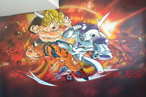 graffiti goku vs freezer habitacion juvenil