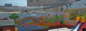 mural infantil animales guarderia oso
